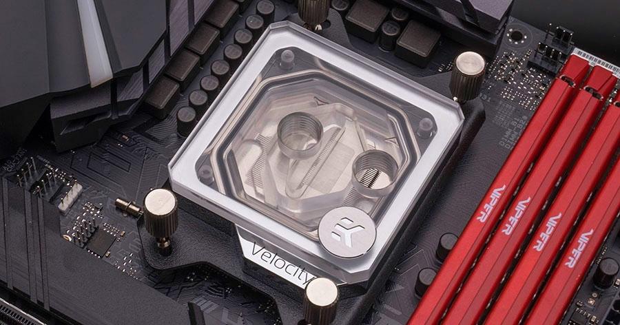 EKWB EK-Velocity CPU Waterblock for AMD Sockets - Nickel + Plexi - Desktop Overview 2