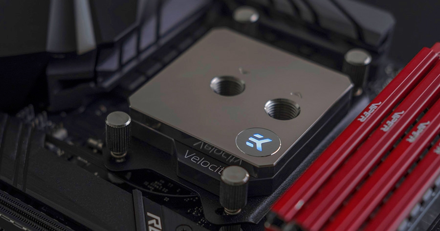 EKWB EK-Velocity RGB CPU Waterblock for AMD Sockets - Full Nickel - Desktop Overview 2
